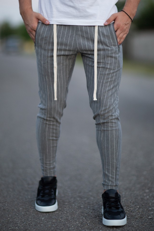 Pantaloni Super Slim Stripes Gri-Alb