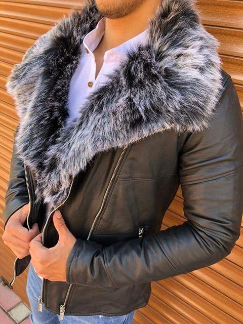 Geaca Piele King Fur Negru
