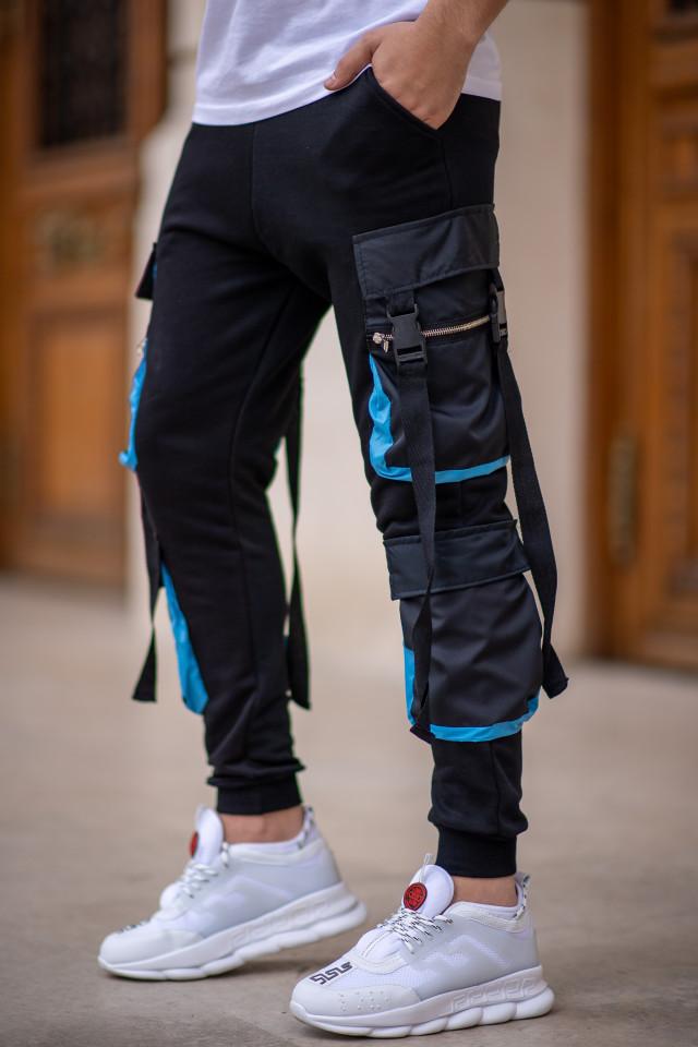 Pantaloni EX Pocket Negru Turcoaz