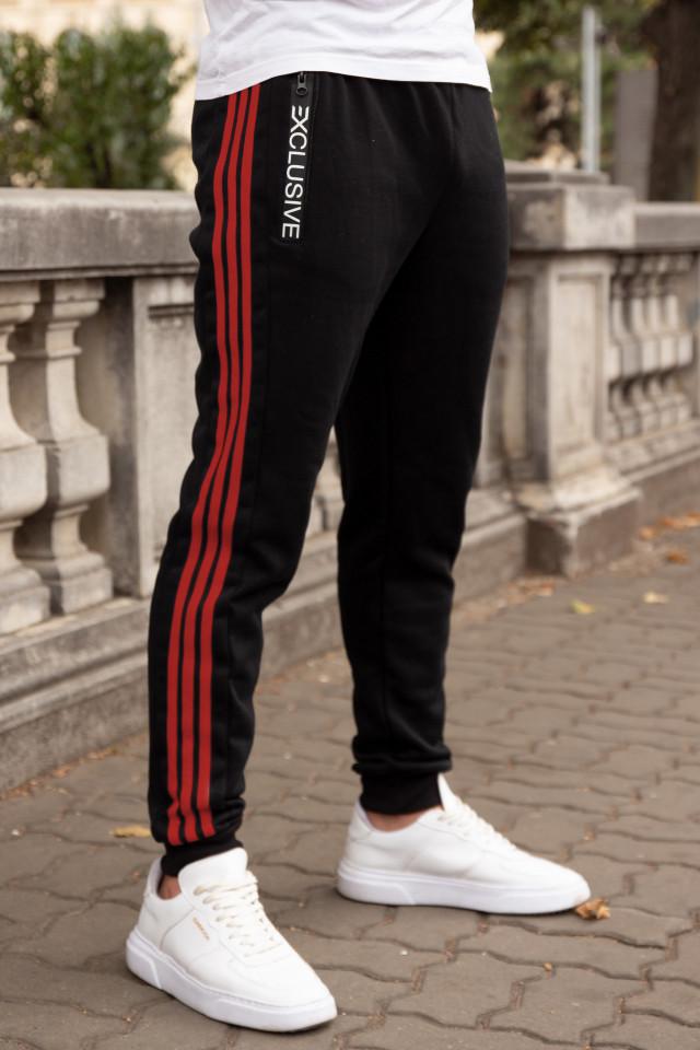 Pantaloni Grosi Bumbac Exclusive Negru-Rosu