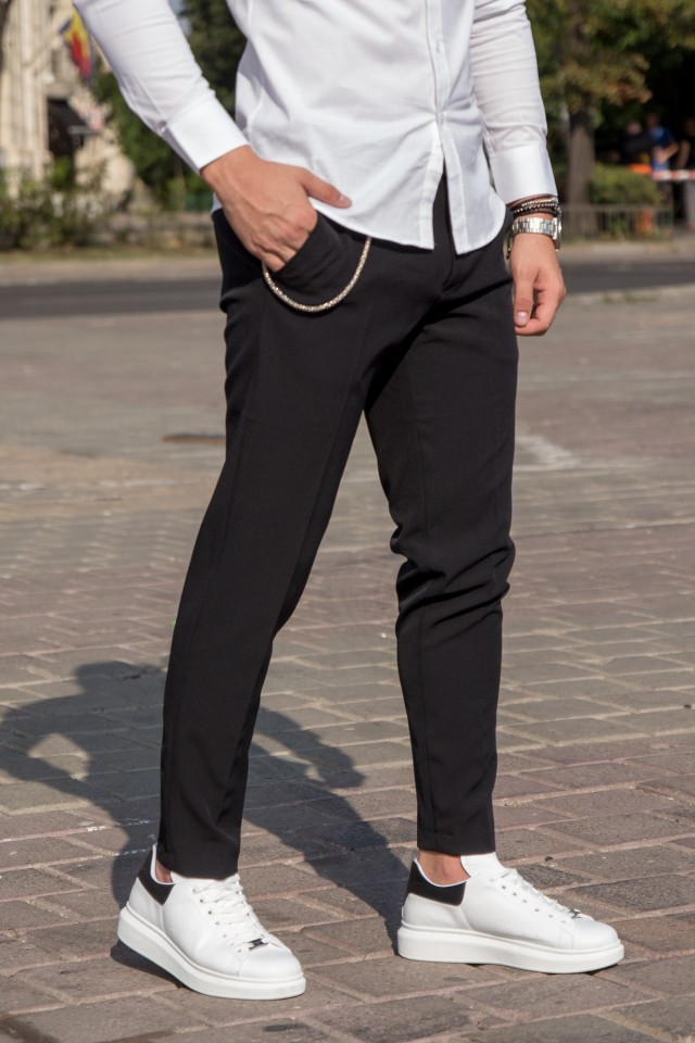 Pantaloni Smart-Casual New Age Negru
