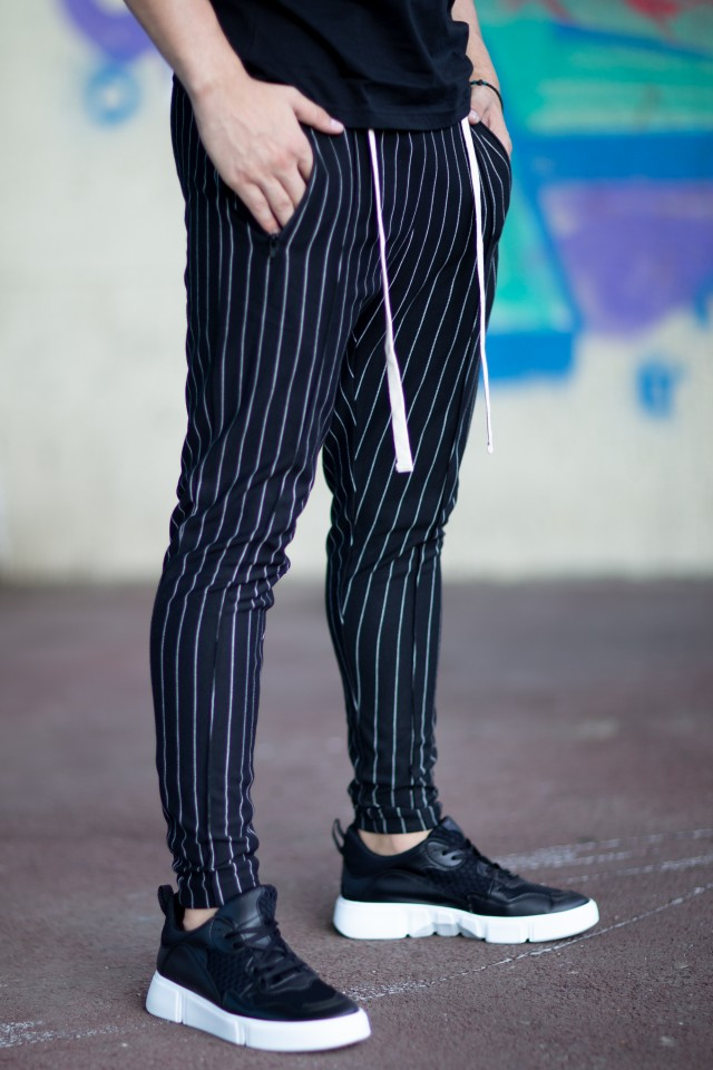 Pantaloni Super Slim Stripes Negru-Alb