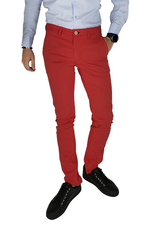 Pantaloni Casual Slim Rosu