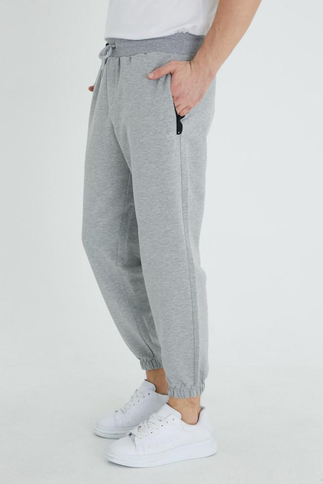 Pantaloni Bumbac Gri Deschis