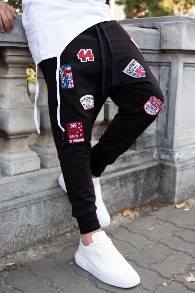 Pantaloni cu tur lasat P5210 negru
