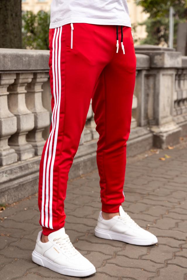 Pantaloni Stripes Rosu-Alb