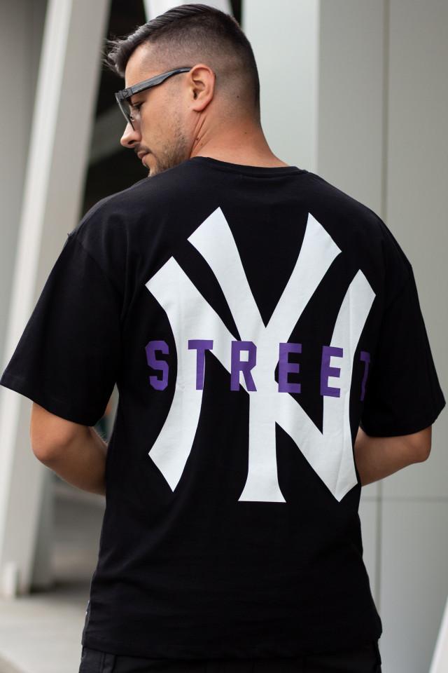 Tricou Oversized NY Street Negru