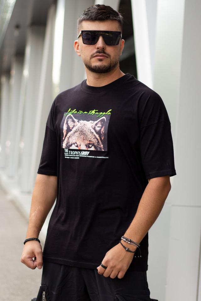 Tricou Oversized Wolf Negru