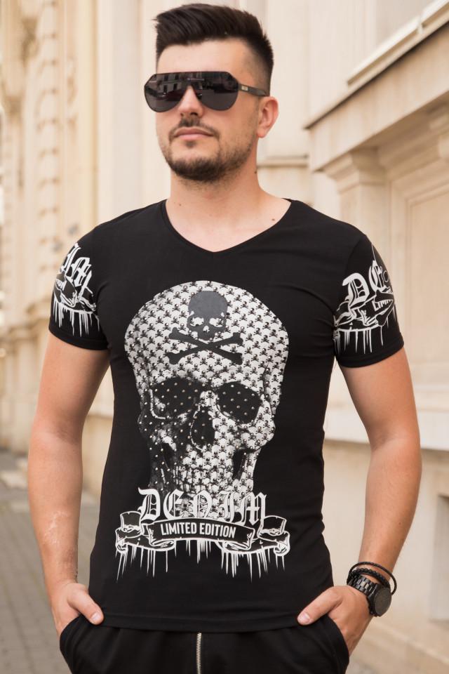 Tricou SlimFIt Skull Negru T017
