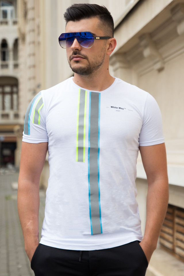 Tricou SlimFIt Way Alb