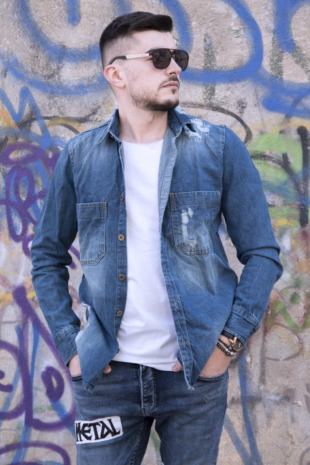 Camasa Denim Premium Blue