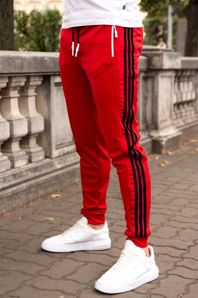 Pantaloni Stripes Rosu-Negru