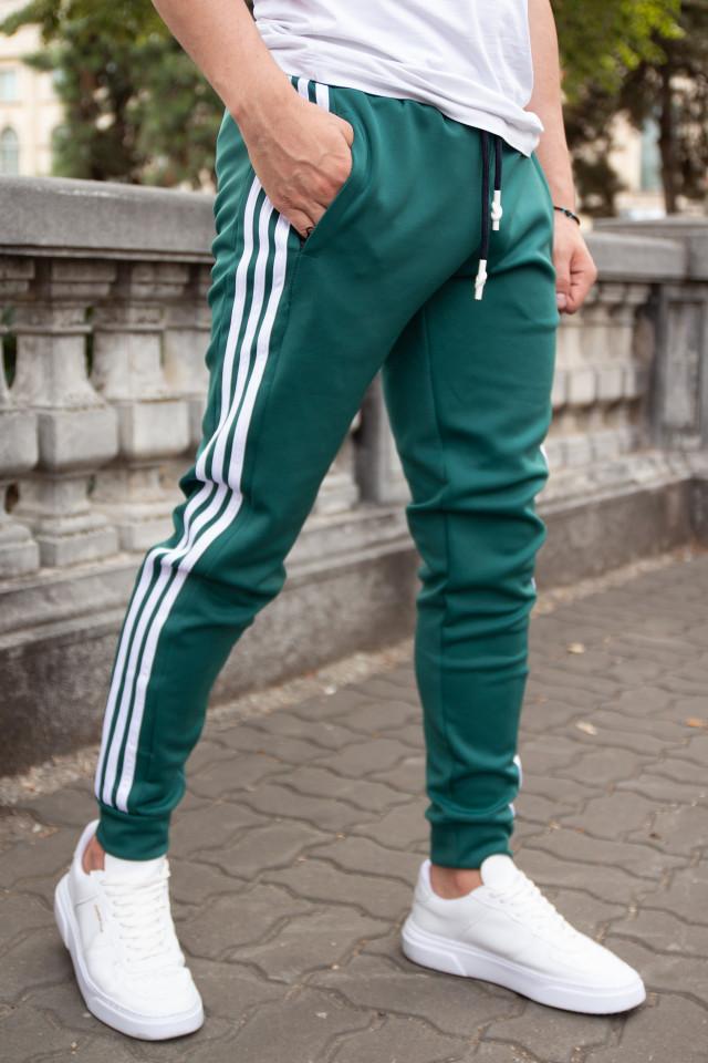 Pantaloni Stripes Verde-Alb