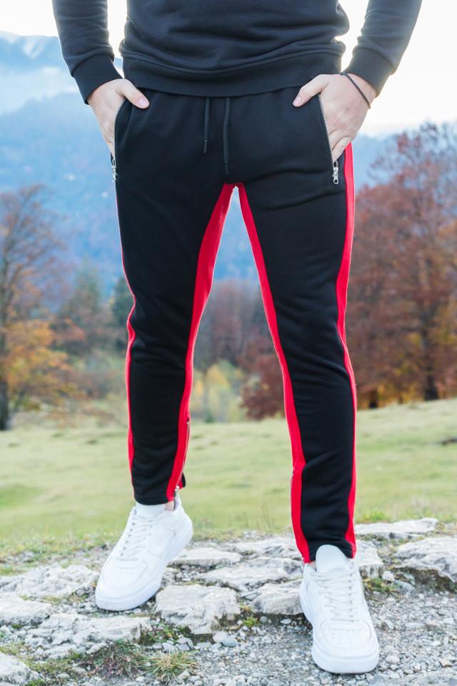 Pantaloni Zip Negru Rosu