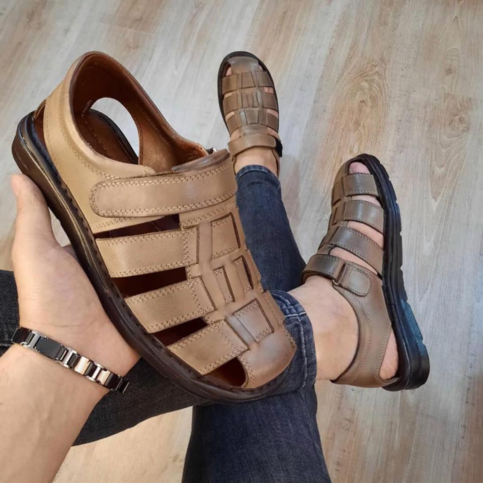 Sandale Barbati Piele Naturala Bej