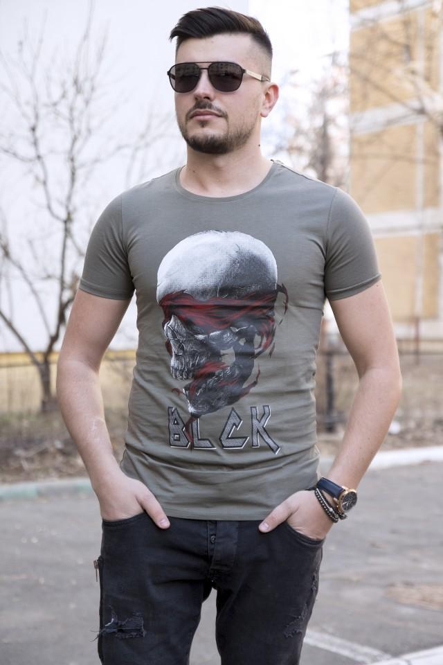 Tricou BLK Skull Kaki