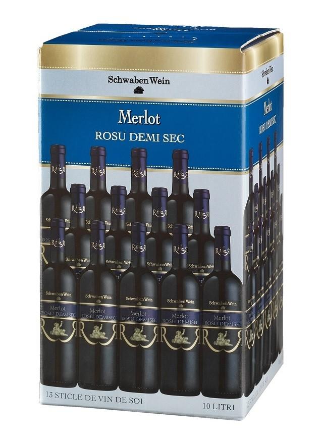 Recas Schwaben Wein Merlot Demisec Bag In Box 10L