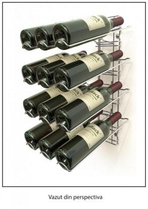 Suport metalic cromat pentru 12 sticle