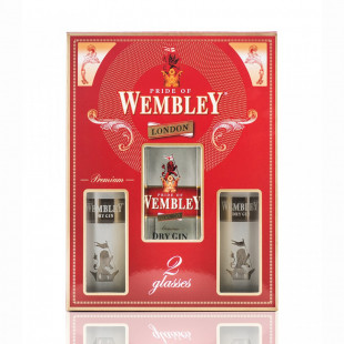 Wembley London Dry Gin 0.7L + 2 Pahare
