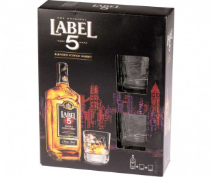 Label 5 Classic Black Scotch Wisky 700ml Pahare
