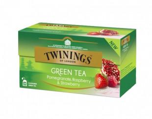 Twinings Ceai Verde Cu Aroma De Rodie, Zmeura & Capsuni 25 x 1,5g