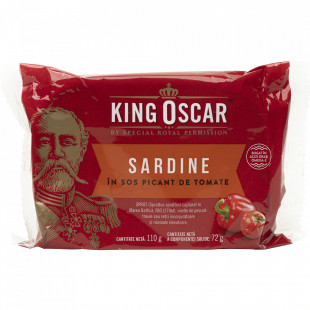 King Oscar Sardine Baltice in Sos Tomat Picant 110g