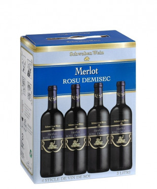 Recas Schwaben Wein Merlot Demisec Bag in Box 3L