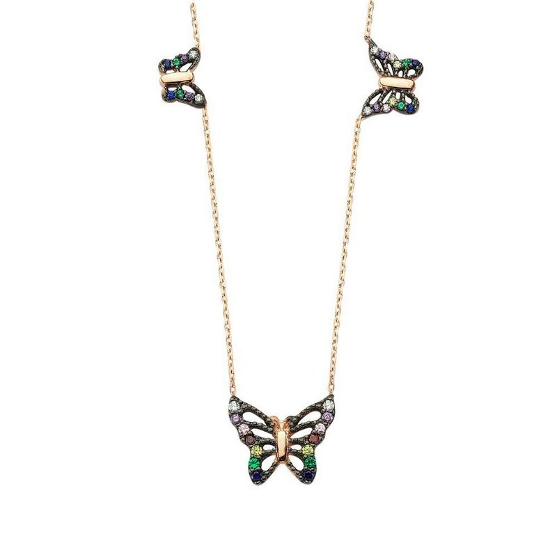 butterfly turkish necklace gold plated sterling silver
