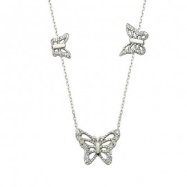 Long Chain White Gold Butterfly Turkish Necklace images