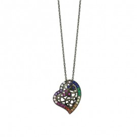 Silver Heart Necklace Black Rhodium Wholesale images
