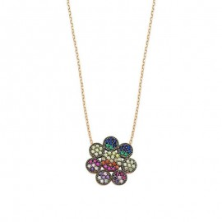 Multicolor Gemstone Flower Design Silver Necklace images