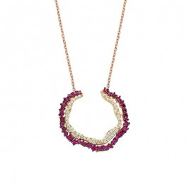 Open Circle Silver Necklace Wholesale images