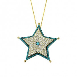 Star Design Silver Necklace Turkish Design Wholesale images