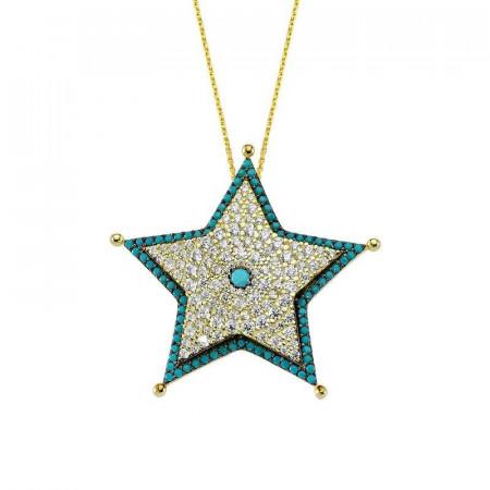 Star Design Silver Necklace Turkish Design Wholesale images