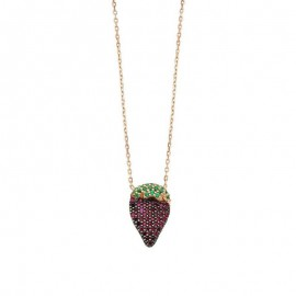 Strawberry Design Necklace Silver Wholesale images