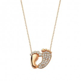 Baby Feet Pendant Necklace Gold Silver in Turkish Wholesale images