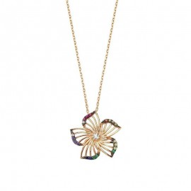 Flower Silver Necklace Gold Tone Wholesale images