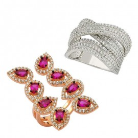 Gemstone Trendy Turkish Silver CZ Rings Wholesale images