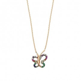 Multicolor Gemstone Butterfly Silver Necklace images
