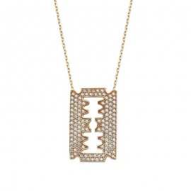 Razor Blade Necklace Yellow Gold Plated Silver images