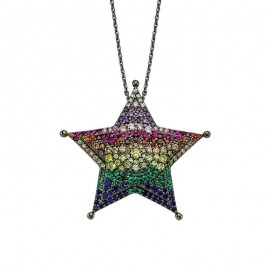 Black Rhodium Chain Star 925 Silver Pendant Wholesale images