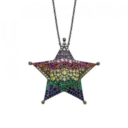Black Rhodium Chain Star 925 Silver Pendant Wholesale images
