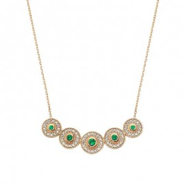 Circle Green Stone Necklace Design images