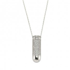 CZ White Gold Plated Silver in Turkish Necklace images