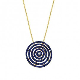 Round Geometric Silver Yellow Gold Turkish Necklace images