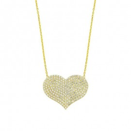 Sterling Silver Heart Pendant Yellow Gold Plated Wholesale images
