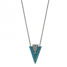 Turquoise Triangle Necklace 925 in Jewelry Wholesale images