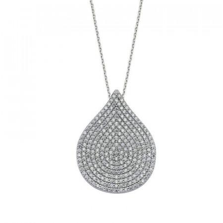 CZ Drop Necklace Silver Wholesale images