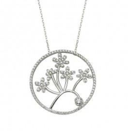 Flower CZ Bead Turkish Silver Necklace images