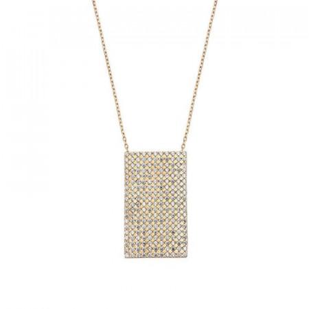 Geometric Silver Necklace White CZ Wholesale images